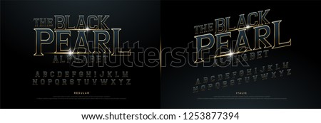 Alphabet golden metallic and effect designs for logo, Poster, Invitation. Exclusive Gold Letters Typography regular font movie concept. vector illustration #1253877394