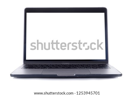 Isolated laptop with empty space on white background #1253945701