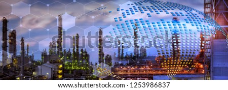 Panorama view of Oil refinery plant with connection line background for your work . #1253986837