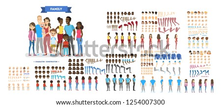Big family character set for the animation with various views, hairstyle, emotion, pose and gesture. African american mother, father and children. Isolated vector illustration in cartoon style Royalty-Free Stock Photo #1254007300
