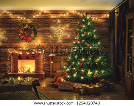 3D Rendering Christmas interior in night colors #1254020743