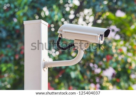 White CCTV camera watching for security 24 hours #125404037