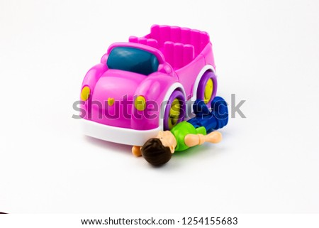 toy car, imitation of accident