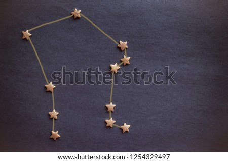 The scheme of the heavenly constellation, the eastern horoscope. The sign of Libra, the air element. Top view, copy space. The picture is made by the author.