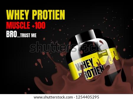 Whey supplement with yellow label in chocolate milk splash #1254405295