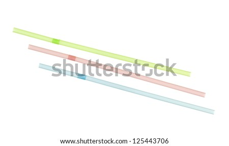 Three flexible drinking straws pink, blue and green colors; isolated on white background #125443706