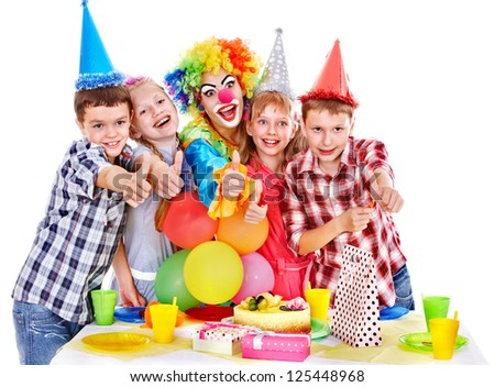 Birthday party of group teen with clown and cake. Isolated. #125448968