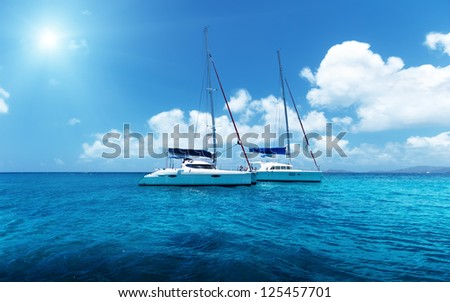 Yacht Sailing on water of ocean #125457701