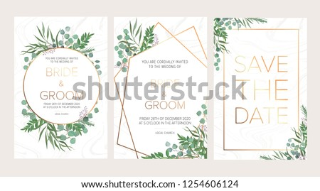 Wedding floral invitation, thank you modern card: rosemary, eucalyptus branches on white marble texture with a golden geometric pattern. Elegant rustic template. All elements are isolated and editable #1254606124