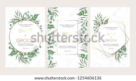 Wedding floral invitation, thank you modern card: rosemary, eucalyptus branches on white marble texture with a golden geometric pattern. Elegant rustic template. All elements are isolated and editable #1254606136