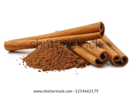 Cinnamon sticks and powder, isolated on white background #1254662179