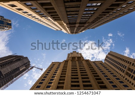 Dubai, United Arab Emirates - October, 2018: Tall Dubai Marina skyscrapers in UAE #1254671047