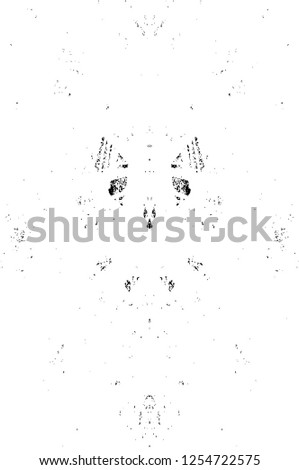 Abstract Dirty Creative Design Backdrop Element. Black And White Distressed Grunge Vector Overlay Template. Dark Paint Weathered Texture.  #1254722575
