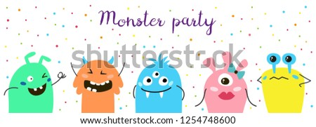 Poster with cute cartoon monsters. Vector illustration. #1254748600