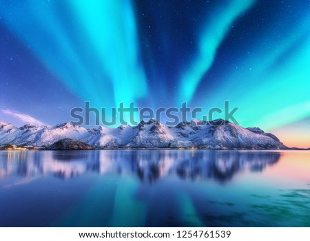 Northern lights and snow covered mountains in Lofoten islands, Norway. Aurora borealis. Starry sky with polar lights and snowy rocks reflected in water. Night winter landscape with aurora, sea. Travel #1254761539