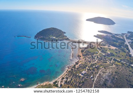 Aerial panoramic view of the Idyllic Eastern Attica near Athens, Greece. Amazing scenery against a deep blue sky over Eastern Attica. Aerial photography over Athens, Greece, Europe #1254782158