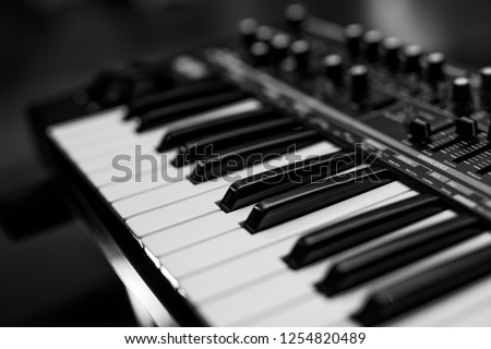 Two octaves electronic musical keyboard synthesizer close-up. Black and white Royalty-Free Stock Photo #1254820489
