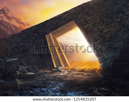 A surreal landscape with a bridge and meadow of beautiful yellow flowers Royalty-Free Stock Photo #1254835207