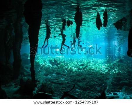 Riviera Maya, Mexico Cenote - Tourists Swimming, Gran Cenote, Tulum, Mexico #1254909187