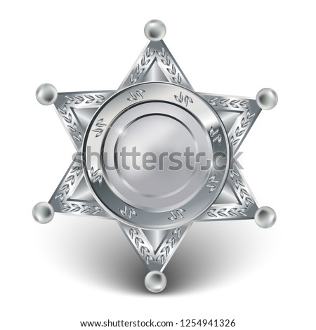 3d realistic vector silver badge of police forces or sheriff star. #1254941326