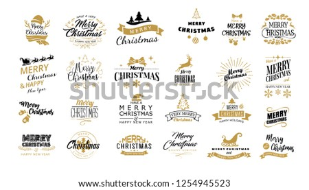 Lettering. Merry Christmas. Happy New Year, Typography set. Vector logo, emblems, text design. Usable for banners, greeting cards, gifts etc. #1254945523