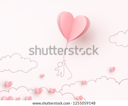 Valentine heart flying balloon with man on pink background. Vector love postcard for Happy Mother's, Valentine's Day or birthday greeting card design. #1255059148