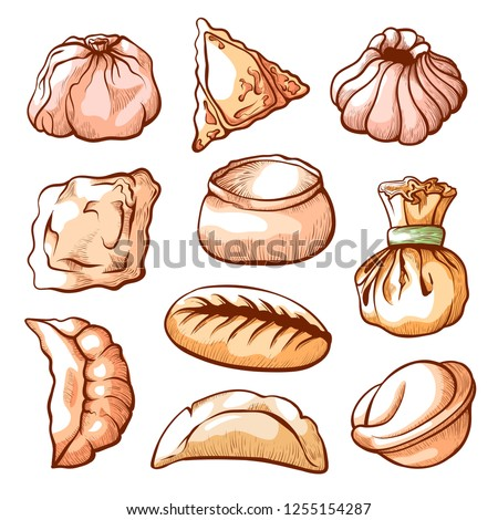 Dumpling, traditional chinese food hand drawn set. Small savoury balls of dough with meat. Vector illustration on white background #1255154287