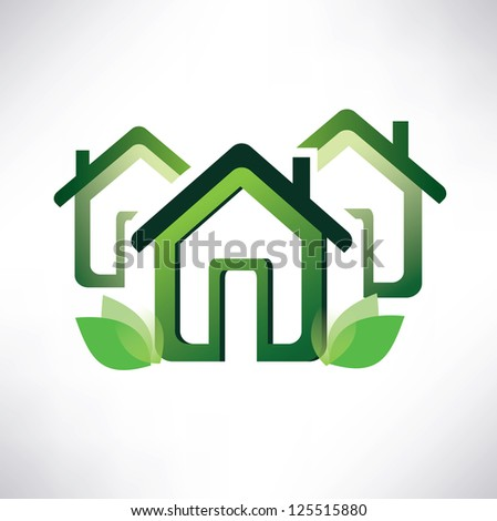 eco home symbol, green village illustration. raster version.