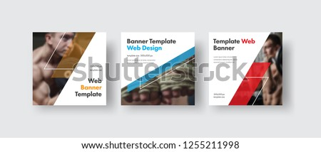 Design white square web banners for social media with place for photo, diagonal transparent color elements. Square templates for publications and advertising. #1255211998