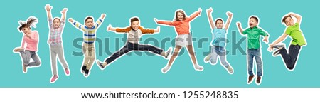 happiness, childhood, freedom, movement and people concept - magazine style collage of happy kids jumping in air over blue background #1255248835