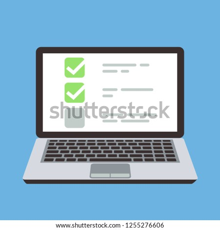 Computer laptop with online quiz form checklist on screen. Choice and survey cartoon concept
