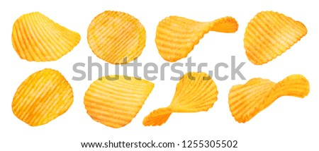 Potato chips isolated on white background. Collection. #1255305502