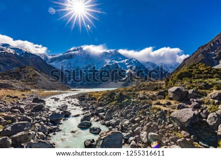 Mouintains in Hooker Valley Track in Aoraki National Park, New Zealand, South Island #1255316611