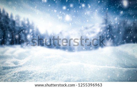Winter background of snow and frost with free space for your decoration  #1255396963
