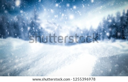Winter background of snow and frost with free space for your decoration  #1255396978