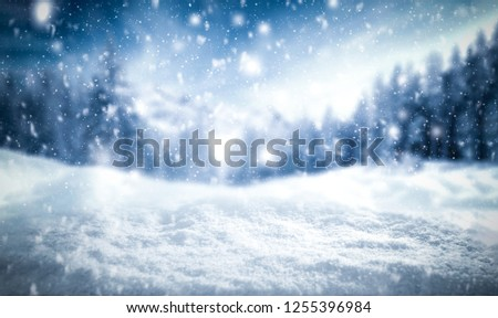 Winter background of snow and frost with free space for your decoration  #1255396984