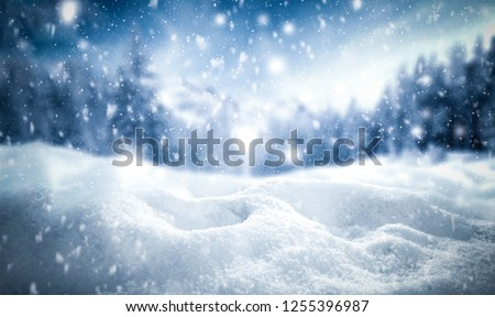 Winter background of snow and frost with free space for your decoration  #1255396987