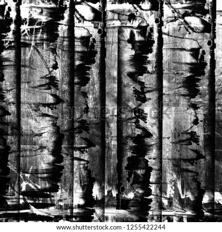 Grunge black and white abstract dirty textured background. Scratch lines over background. Noise and grain. Scratch texture. Grunge frame.Splashes of paint. Distress urban square geometric illustration #1255422244