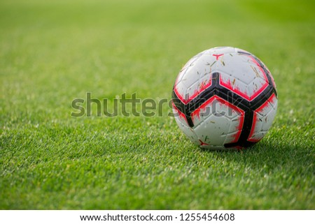 Soccer ball with red and black stripes on green grass,  November 2018, Slovenia #1255454608