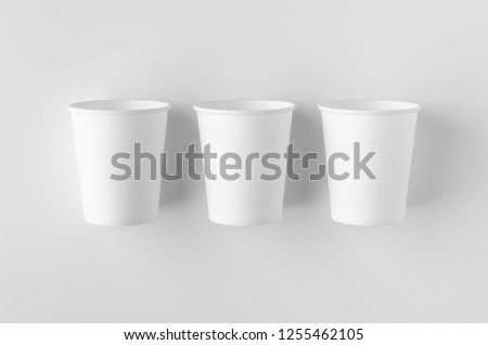 Top view of a 8 oz. white coffee paper cup mockup without lid. #1255462105