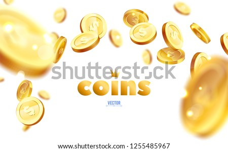 Realistic Gold coins explosion. Isolated on white background. #1255485967
