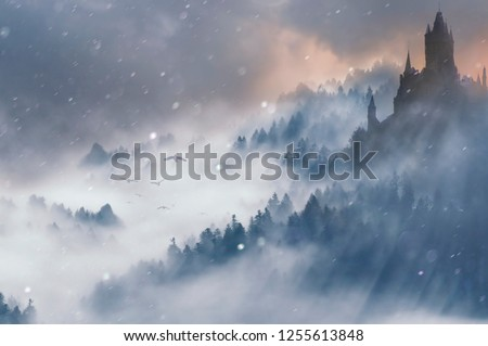 fantasy winter with foggy castle on hill and forest