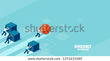 Vector of a smart businessman pushing a sphere leading the race against a group of slower businessmen pushing boxes. Winning strategy in business concept Royalty-Free Stock Photo #1255631680