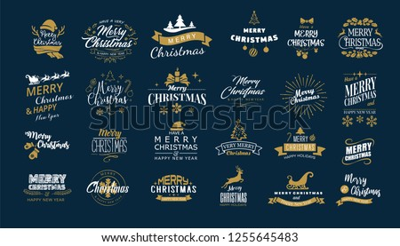 Lettering. Merry Christmas. Happy New Year, Typography set. Vector logo, emblems, text design. Usable for banners, greeting cards, gifts etc. #1255645483
