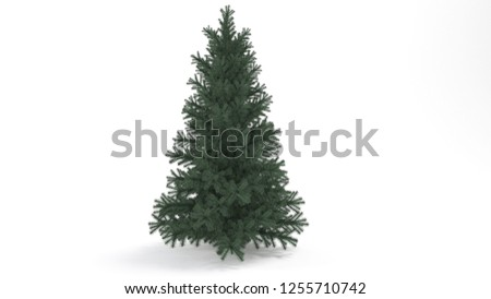 Pine tree isolated with shadows, white screen. 3d illustration. #1255710742