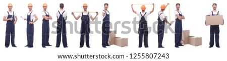 panoramic collage of skilled handyman isolated on white #1255807243