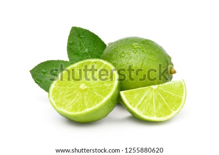 Natural  fresh lime with water drops and sliced, green leaf isolated on white background  #1255880620