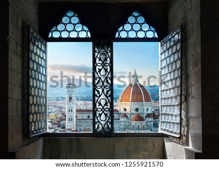 View from the old window on Florence Duomo Basilica di Santa Maria del Fiore.  Florence, Italy. Collage of the historical theme and the theme of travel. #1255921570