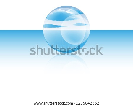 bubble of cloud on ocean surface in blue shades #1256042362
