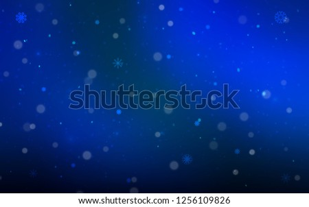 Dark BLUE vector cover with beautiful snowflakes. Glitter abstract illustration with crystals of ice. The pattern can be used for new year leaflets. #1256109826